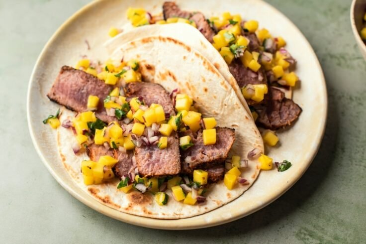Grilled Tuna Tacos with Fresh Mango Pineapple Slaw