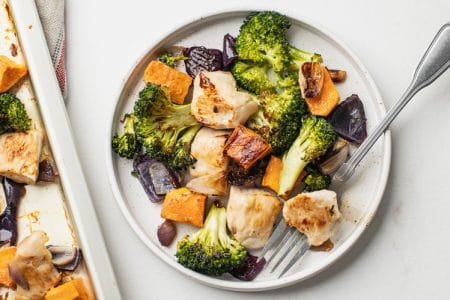 One-Pan Broccoli, Sweet Potato, and Chicken Dinner