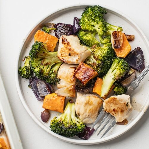 broccoli and sweet potato chicken dinner