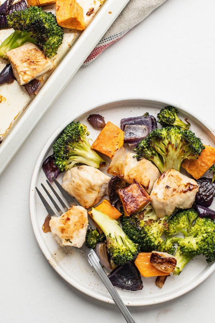 One Pan Broccoli, Sweet Potato, and Chicken Dinner Easy Clean Up
