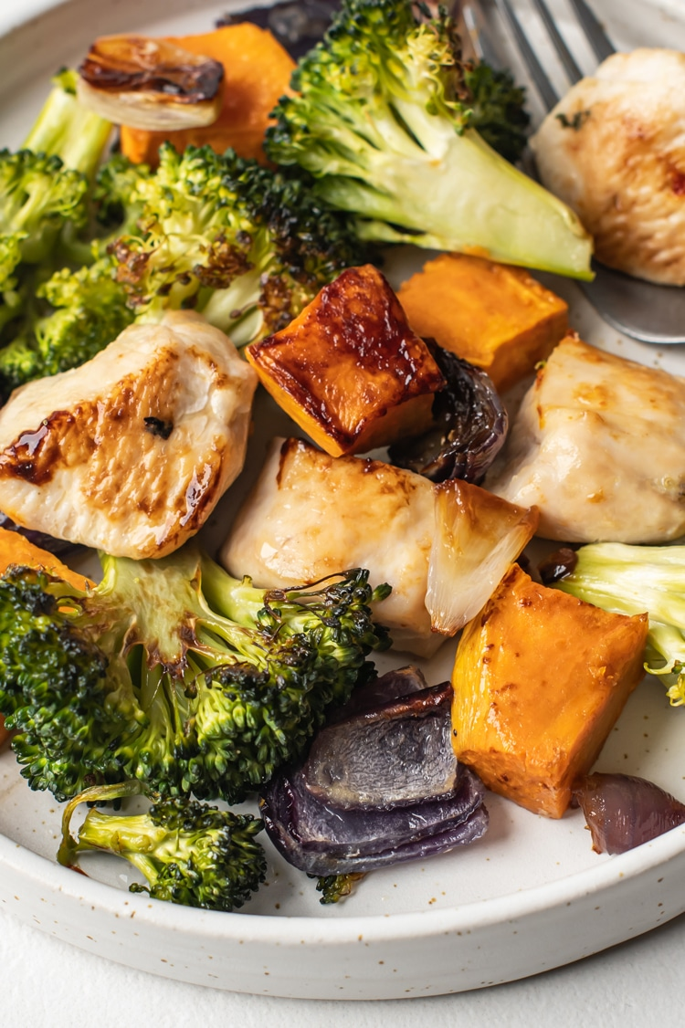 One Pan Broccoli, Sweet Potato, and Chicken Dinner