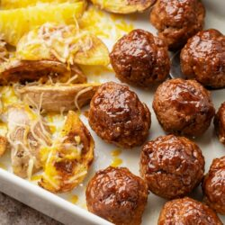 one pan bbq meatballs and roasted potatoes