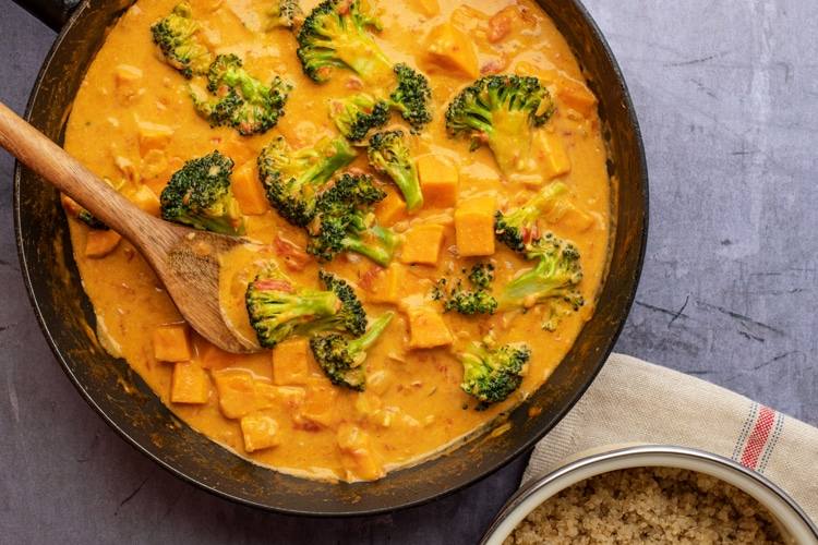 Try this quick,easy, and satisfying vegan coconut curry!