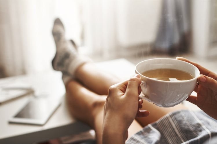 Sit down on the couch with a cup of tea and let he amino acids relax your hyped up nervous system.