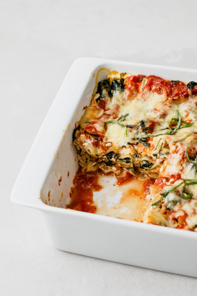 This dish contains vegan cheese to shave off some of the calories from normal cheese.