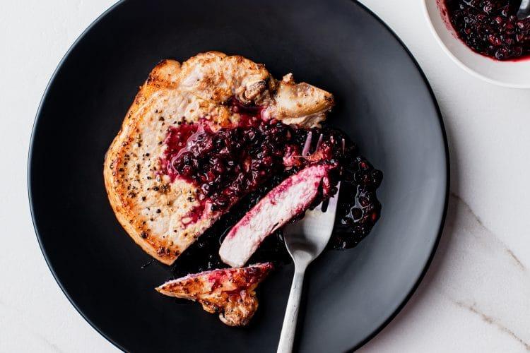 Blackberry Ginger Pork Chops