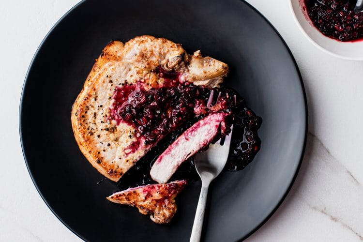 Blackberry Ginger Pork Chops