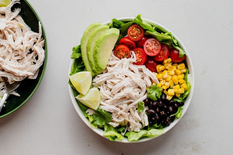 Make a beautiful taco bowl with this tasty lime chicken!
