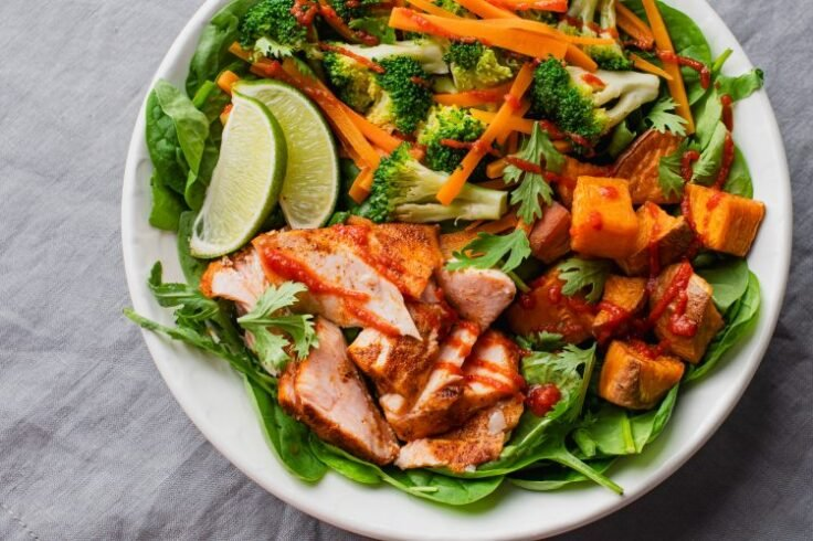 This Sriracha Salmon Power Bowl makes a great lunch or dinner!