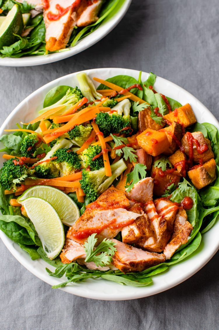 This salmon sriracha power bowl is just as pretty as it is delicious!