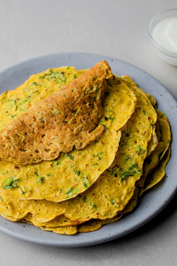 Our savory chilla pancakes recipe is low-calorie and vegetarian, but can easily be made vegan-friendly, too!