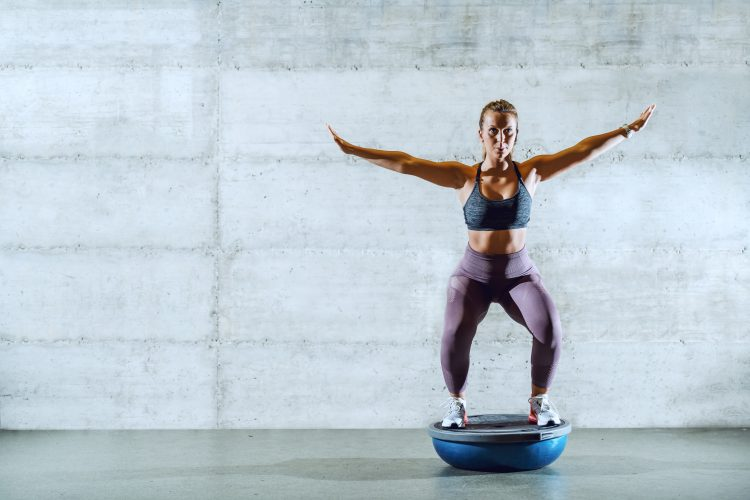 A Bosu ball is great for building balance and strength.