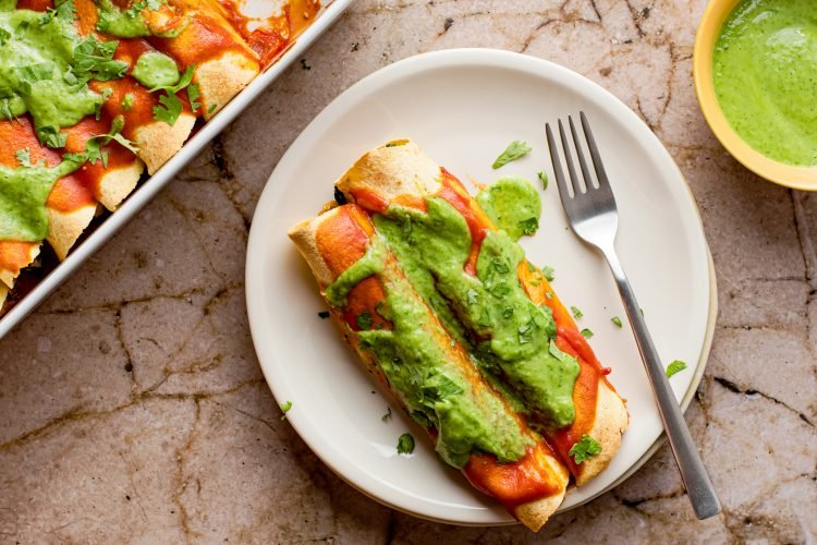 Black bean and Tofu Enchiladas with Creamy Cilantro Lime Sauce