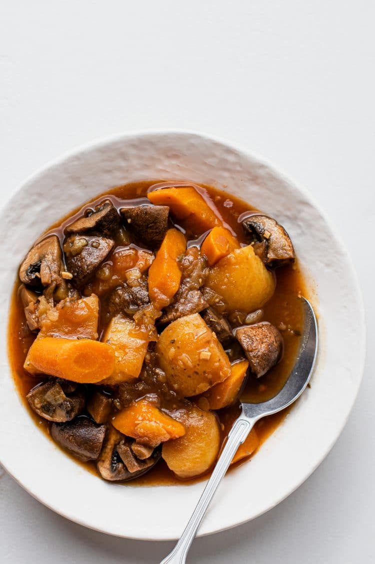 This nutritious vgan pot roast can be served in a number of different ways.