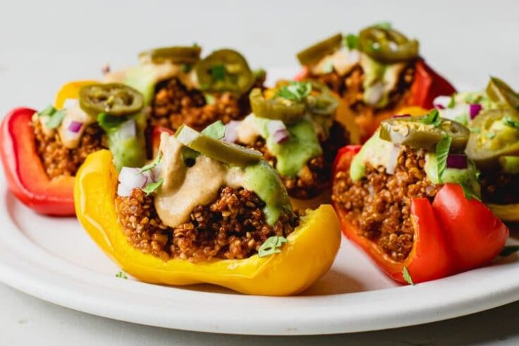 Plant-Based Bell Pepper Nacho Boats with Avocado Sauce and Cashew Queso