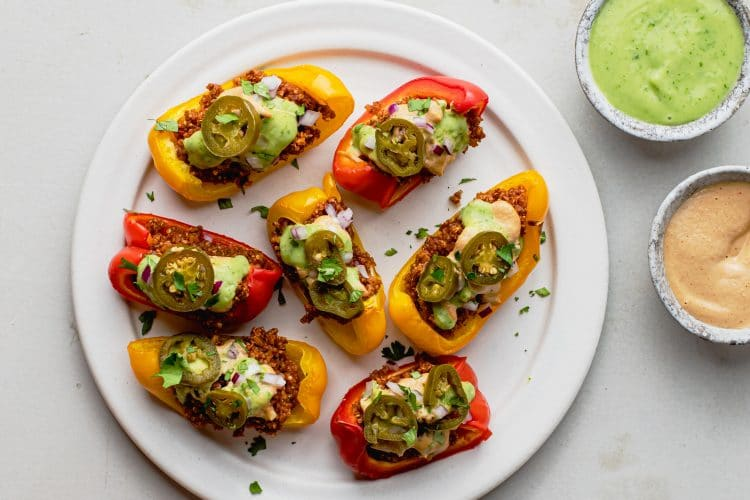 Enjoy these vegan bell pepper nachos as a meal, appetizer, or snack!