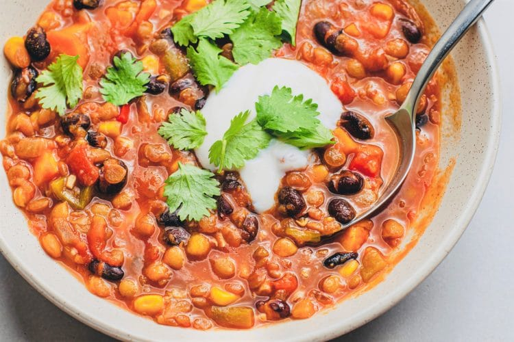 Try this warm and hearty Slow Cooker Lentil Chili!