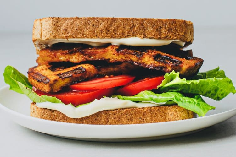 Our nutritious Vegan BLT Sandwich with Waffle Iron Tofu Bacon makes a fantastic lunch or dinner!
