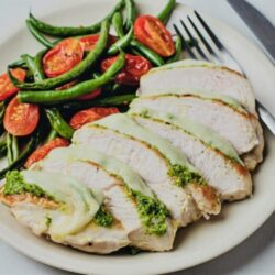 Our Pesto Chicken with Roasted Tomatoes and Green Beans is too good not to try!