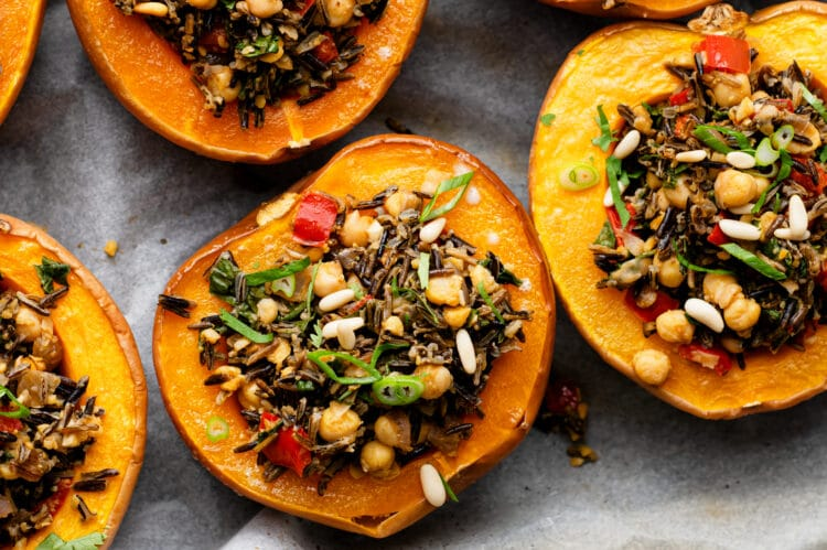 Make our Chickpea Stuffed Acorn Squash for a healthy, vegan meal!