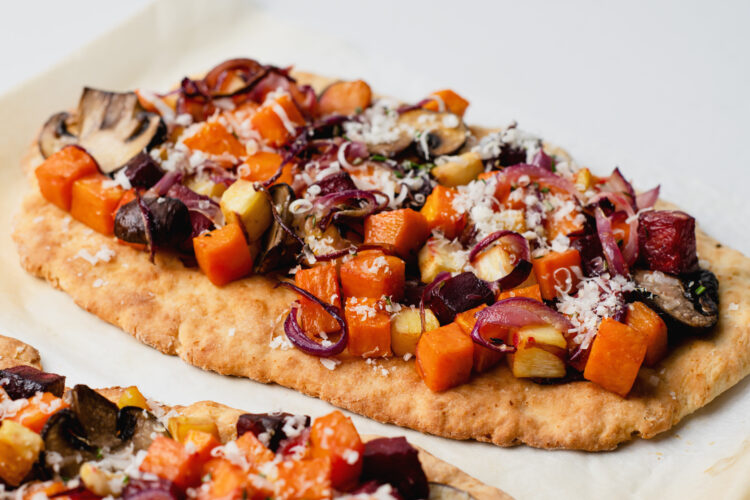 You can make this roasted vegetable flatbread plant-based with just a few simple ingredient swaps.