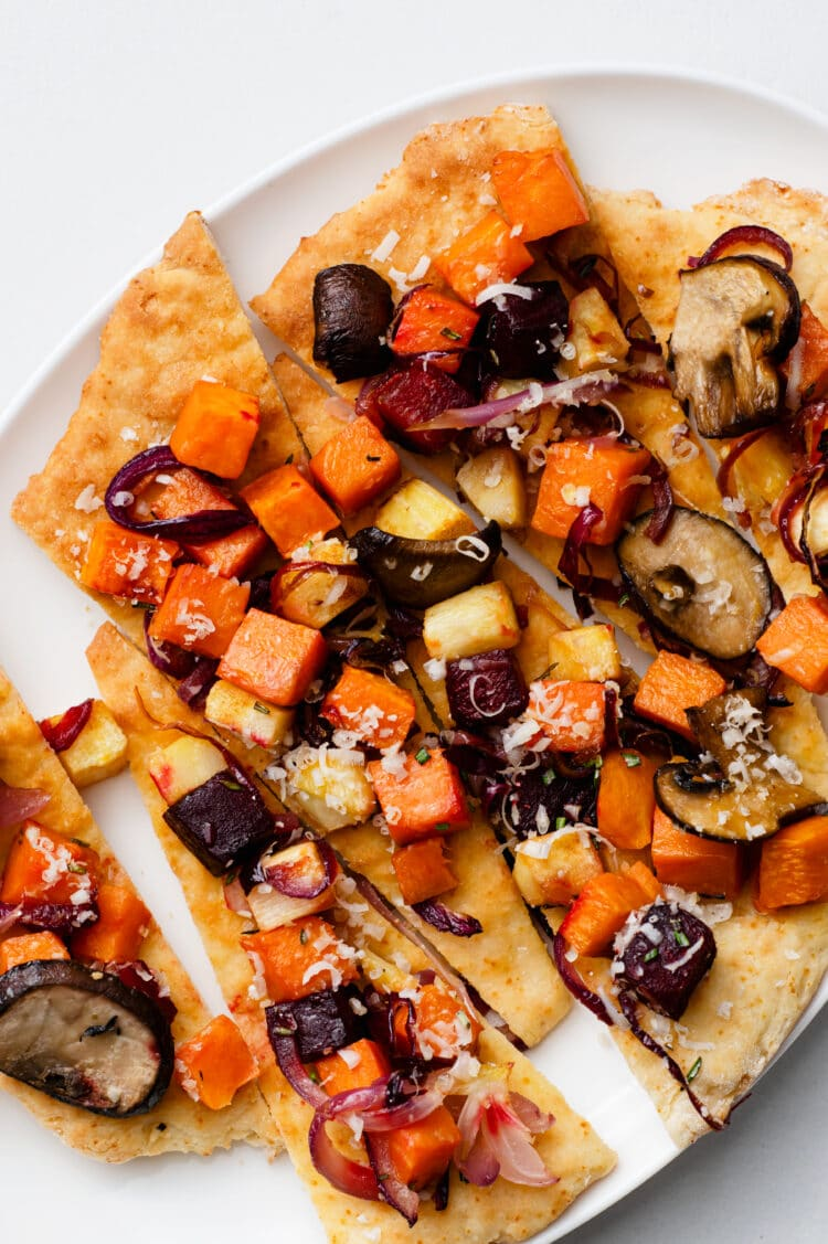 This veggie-rich pizza is a super healthy meal or appetizer.