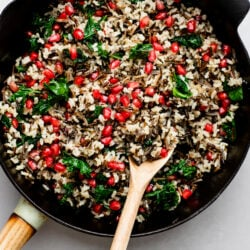 Dig into this nutritious and delicious pomegranate and kale wild rice side dish!