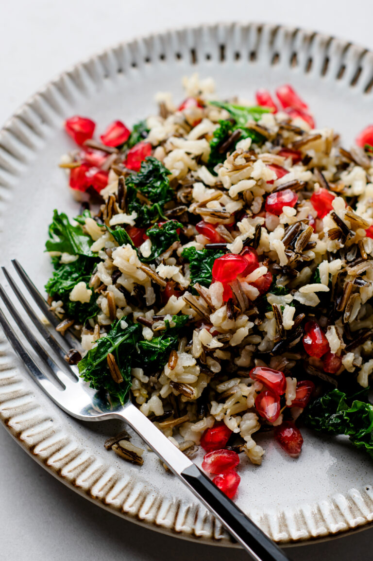 Enjoy this yummy pomegranate and kale wild rice in just over 30 minutes!