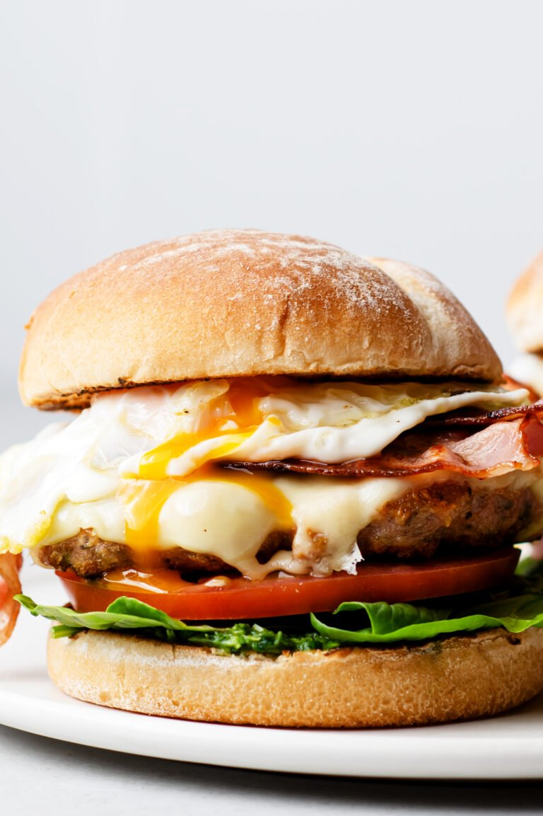 This savory and satisfying brunch burger is made with lower-fat ingredients so you can indulge with less guilt!
