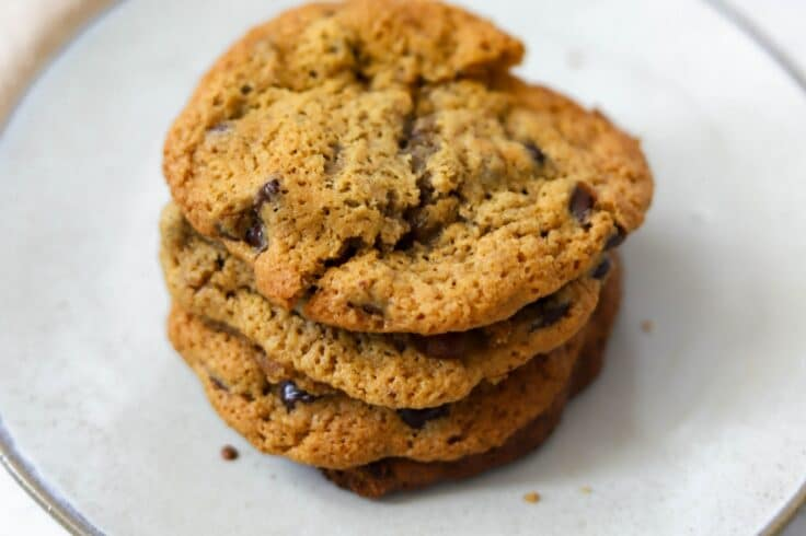 Take a bite out of one of these sweet and satisfying, gluten-free chewy chocolate chip cookies!