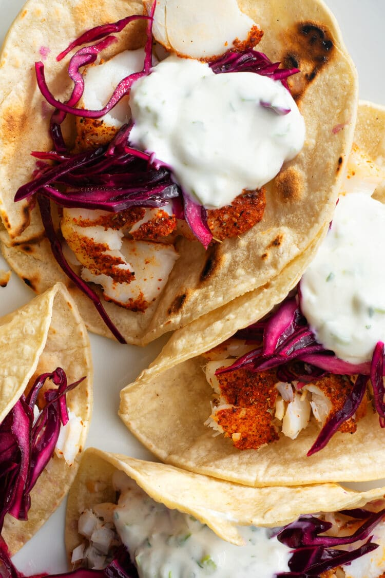 The delightful flavors in these yummy fish tacos are sure to please the whole family.