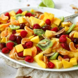 This beautiful pineapple lime fruit salad is the perfect snack any time of day!