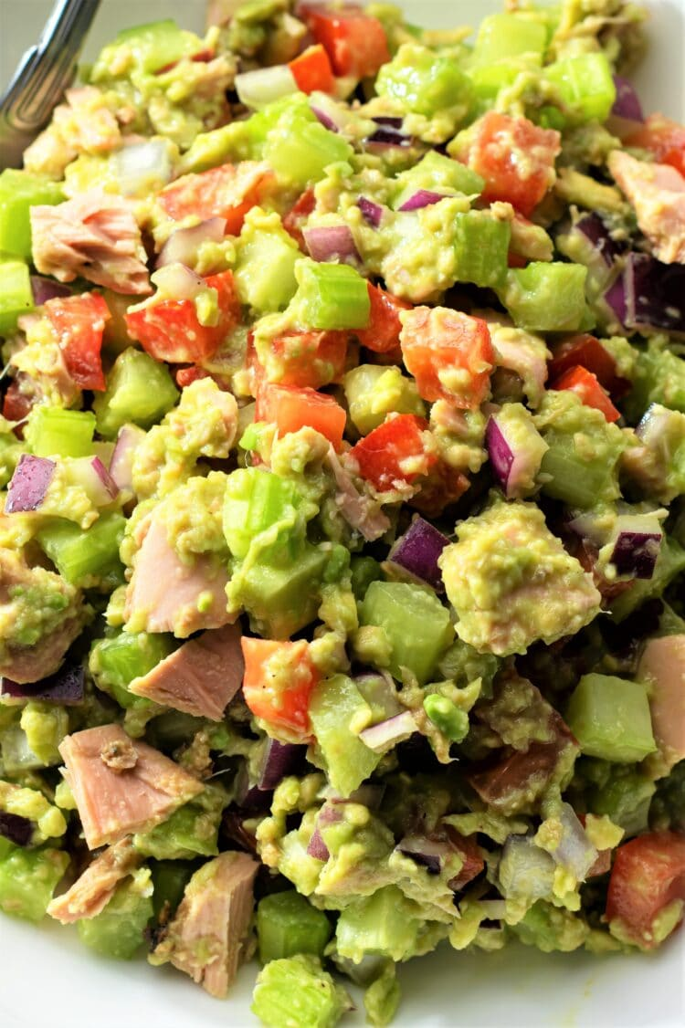 This healthy and colorful avocado tuna salad is packed with nutrition your body needs.