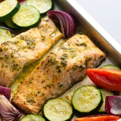 Our easy citrus salmon tray bake is the perfect weeknight dinner.