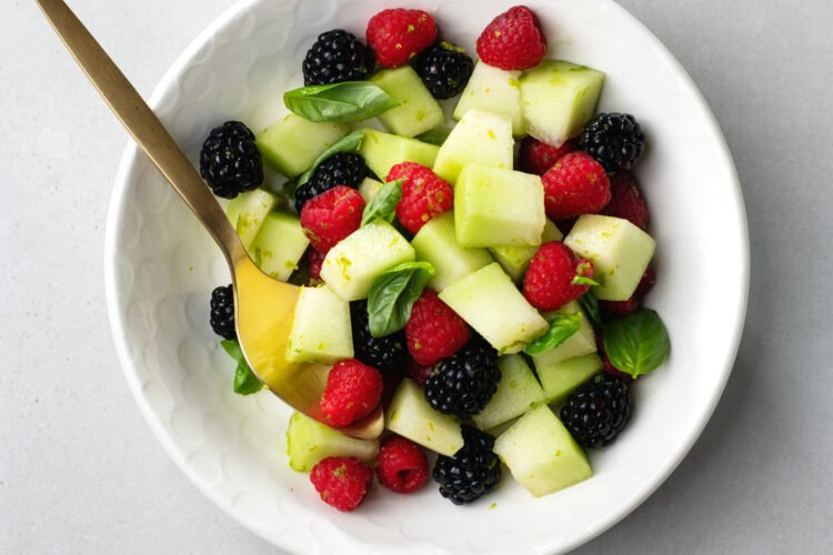 This yummy fresh lime and basil fruit salad is so easy to prepare!