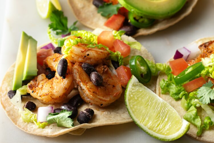 Our grilled shrimp tacos are loaded with incredible flavors.