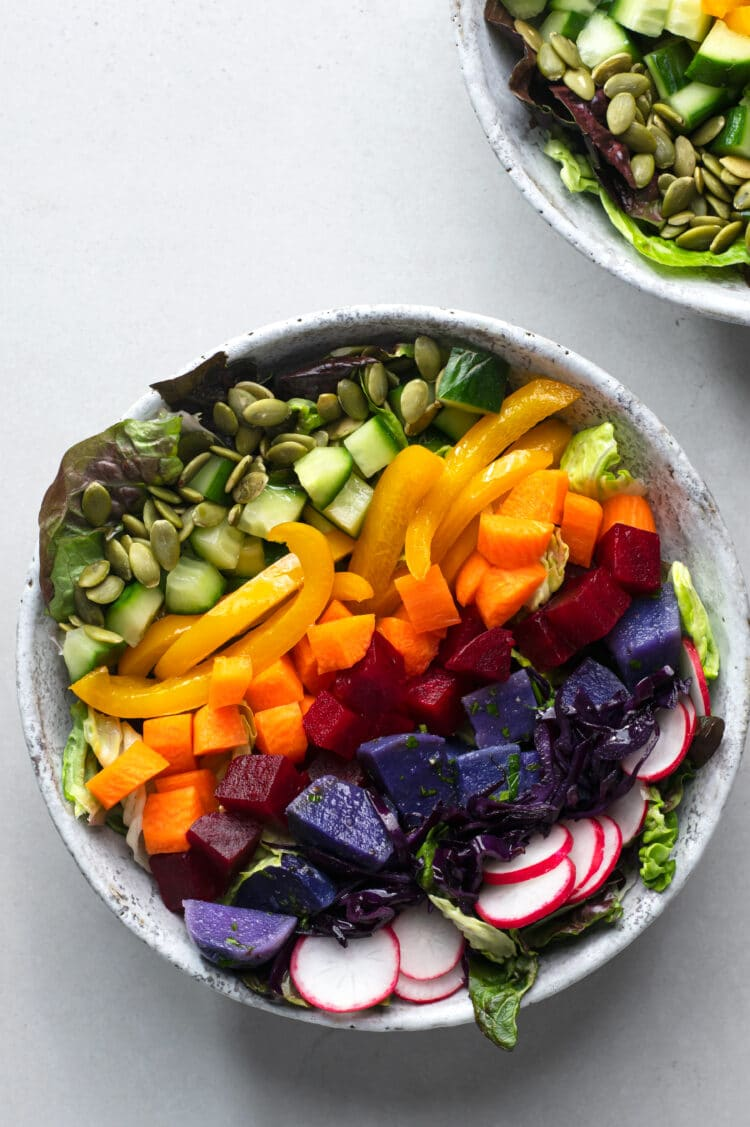 Enjoy this rainbow salad as a filling lunch or yummy dinner.