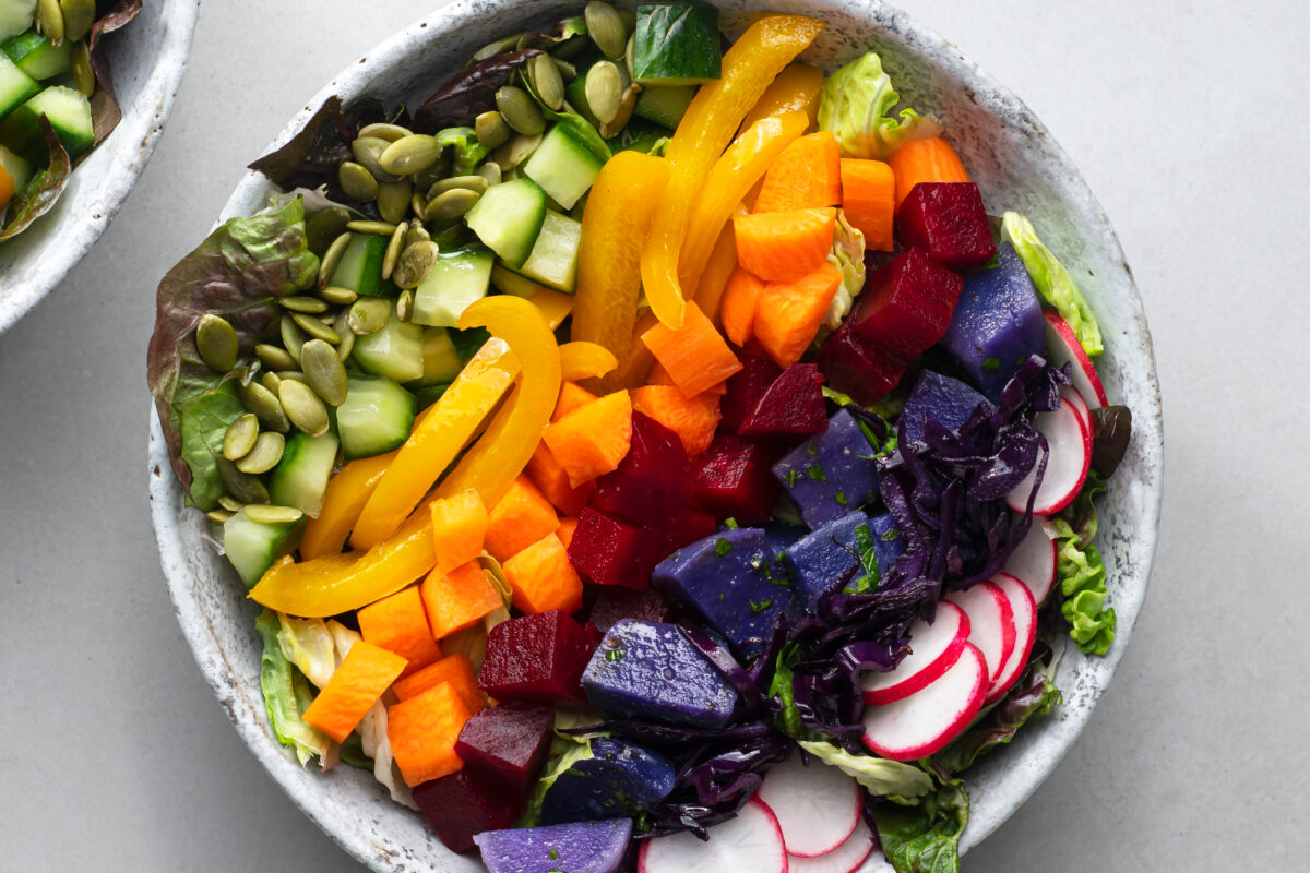 This beautiful Rainbow Salad with Sauteed Veggies and Baked Potato is almost too pretty to eat!