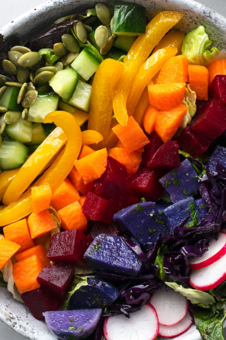You should aim to eat all the colors of the rainbow, each day.