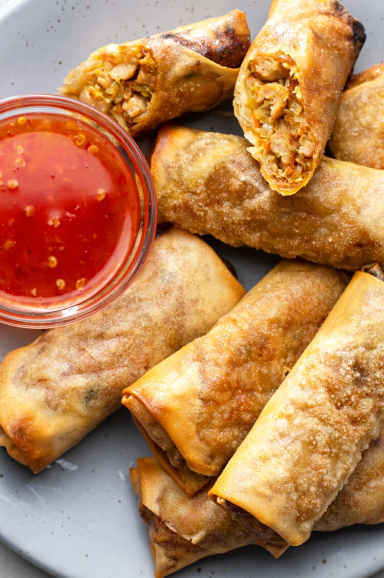 Our air-fried egg rolls are lower in fat and calories than traditonally fried egg rolls!