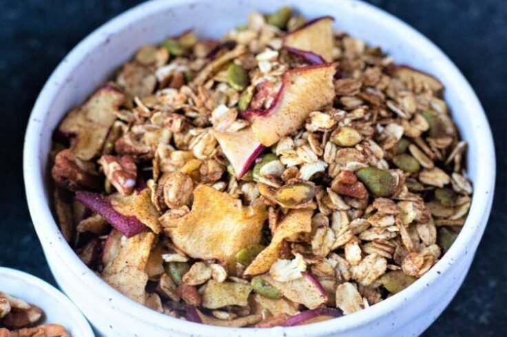Our apple cinnamon granola is a scrumptious way to begin your day!