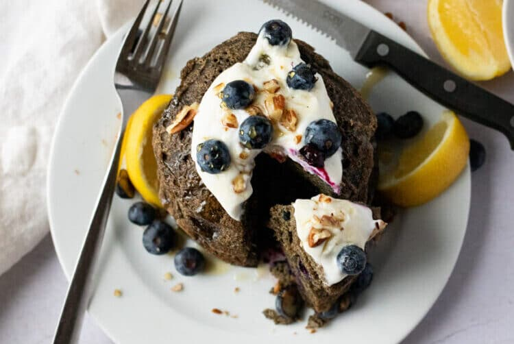 Our buckwhea blueberry pancakes are loaded with flavor and made with healthy ingredients.