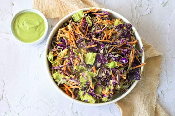 This Creamy vegan Coleslaw gets it's smooth texture from avocado instead of mayo!