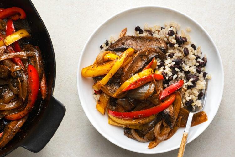 Our plant-based portobello fajita skillet is meaty in texture but 100% vegan-friendly!