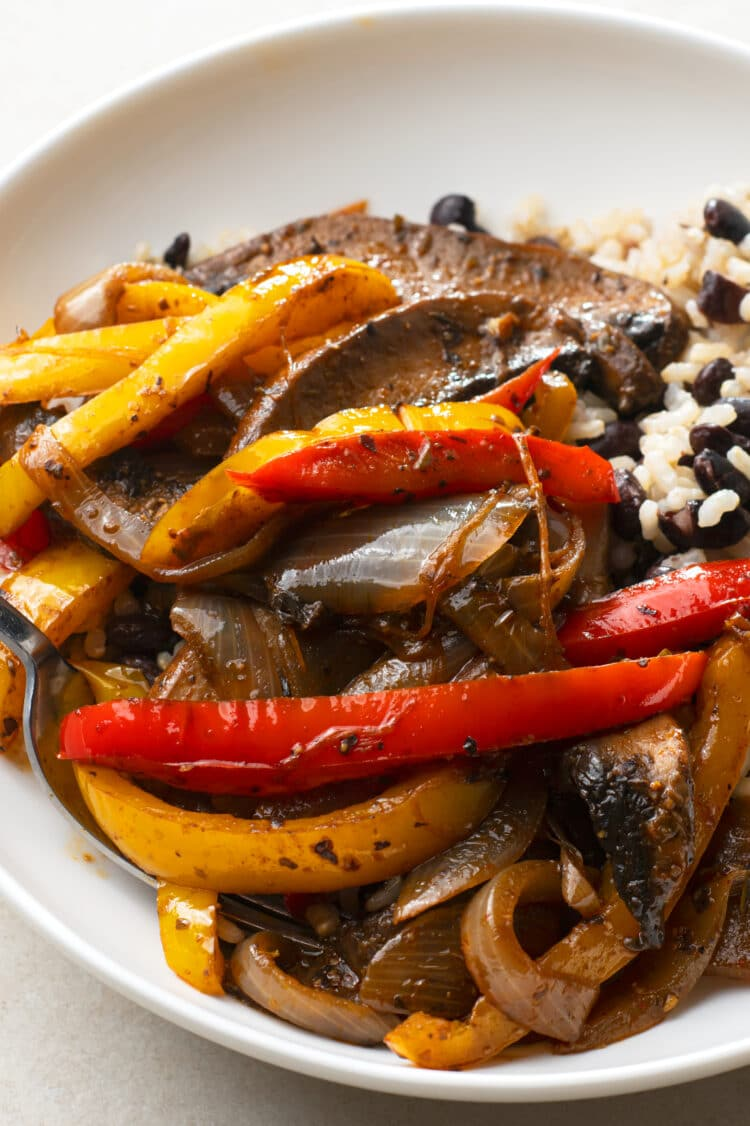 Our delicious vegan fajita skillet makes an excellent dinner and leftover lunch.