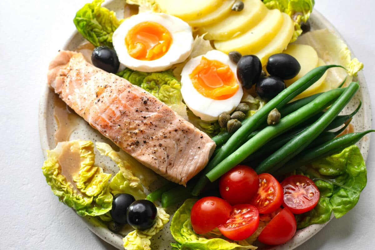 Our Salad Nicoise with poached salmon is so pretty and even more delicious!