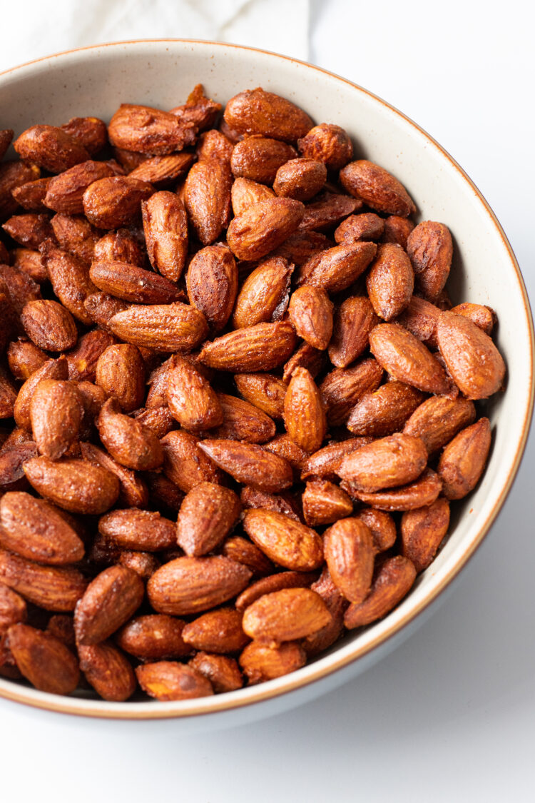 Grab a handful of these sweet and spicy toasted almonds on the go!