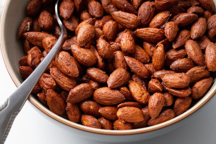 These 4-ingredient almonds are wonderful as a snack or adding to a salad.