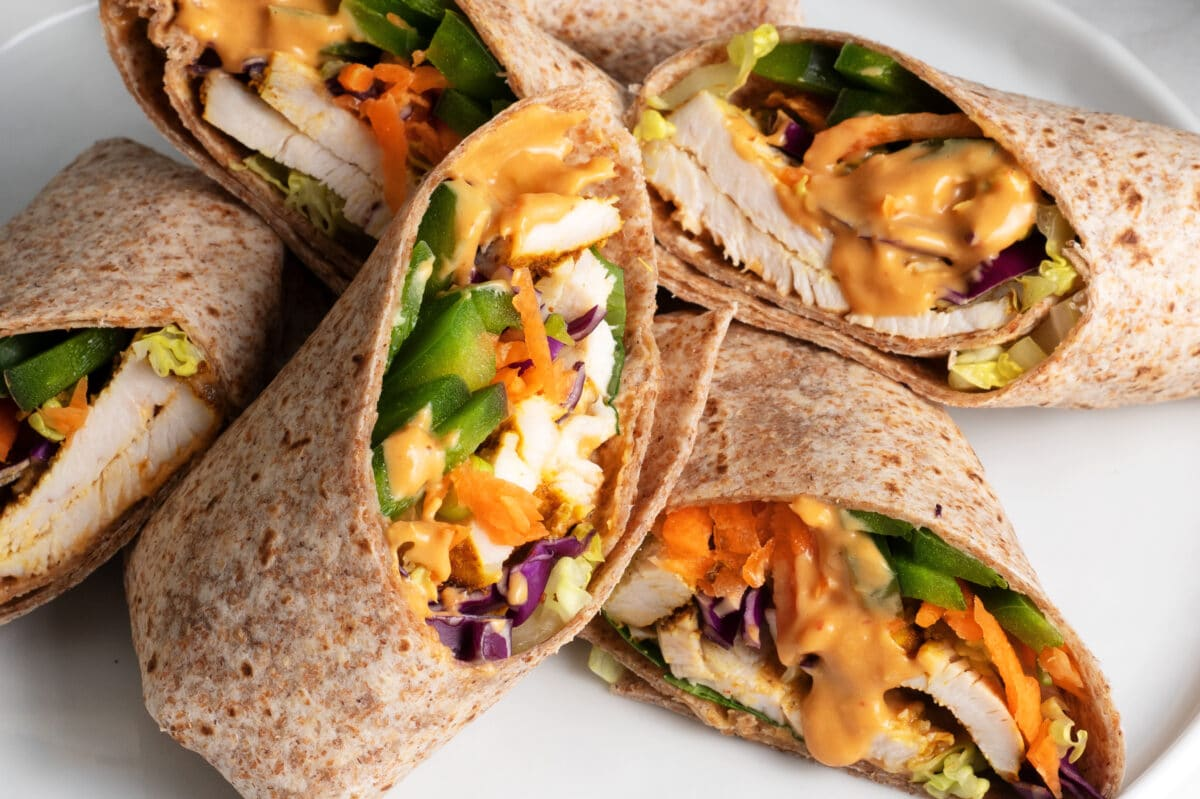 These delicious Thai chicken wraps are great for lunch or luncheon!