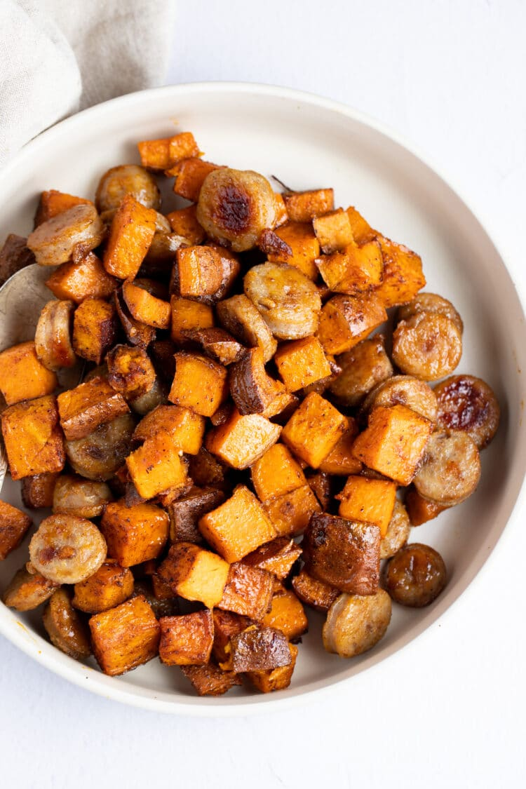 Sweet sausage and sweet potatoes combine to creat a super tasty meal!